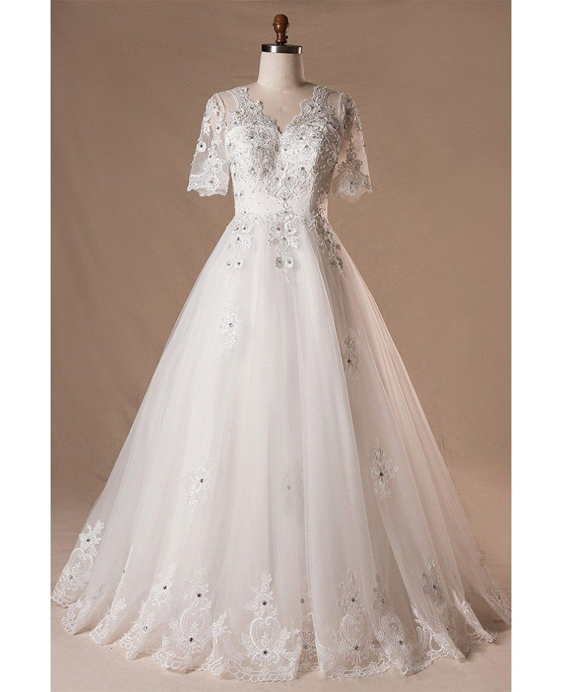 Plus Size Beaded Lace Tulle Wedding Dress With Short Sleeves #MN001 -  GemGrace.com