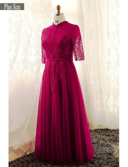 Plus Size Burgundy High Neck Lace Long Tulle Formal Dress With Lace Sleeves  #MN004 - GemGrace.com