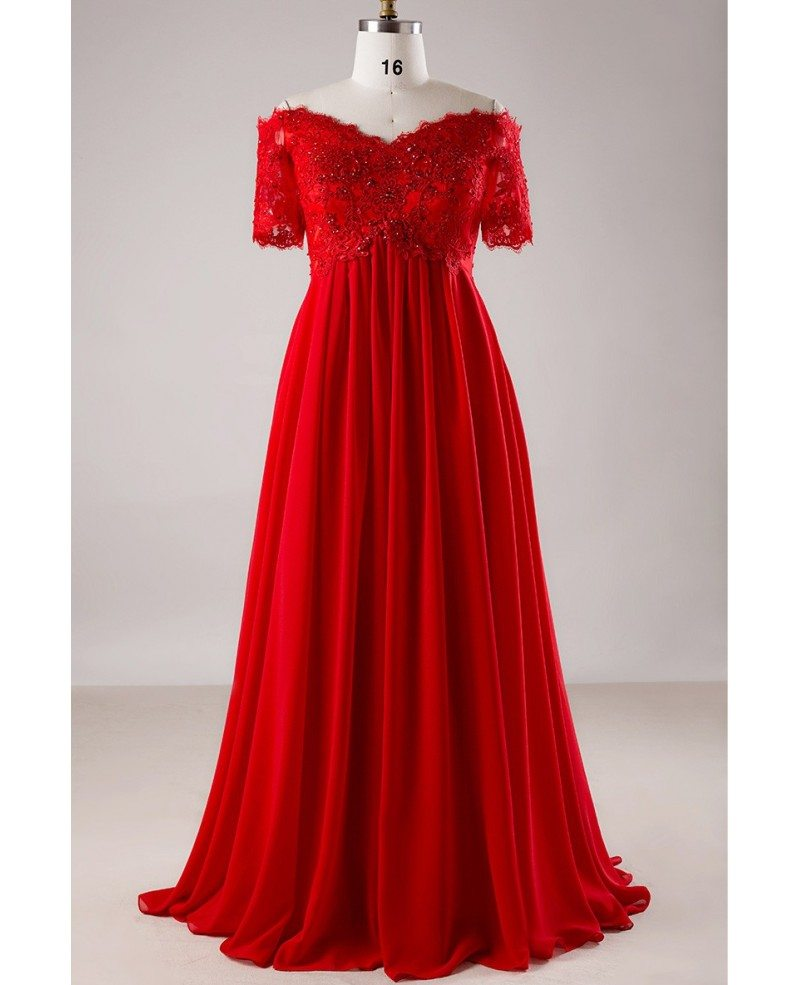 Plus Size Red Sequin Lace Off Shoulder Empire Long Formal Dress With  Sleeves #MN017 - GemGrace.com