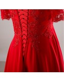 Plus Size Red Sequin Lace Off Shoulder Empire Long Formal Dress With Sleeves