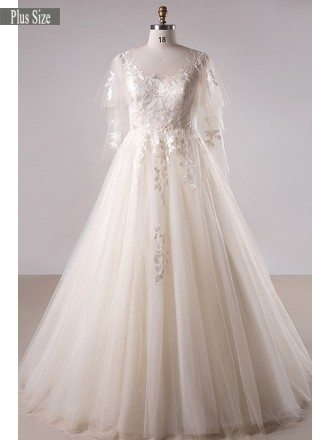 Plus Size Light Champagne Lace Long Tulle Country Wedding Dress
