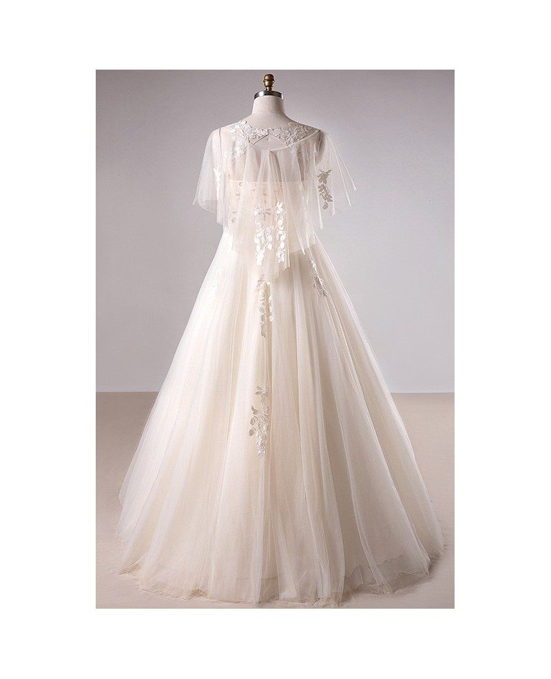 Plus Size Light Champagne Lace Long Tulle Country Wedding Dress #MN021 -  GemGrace.com