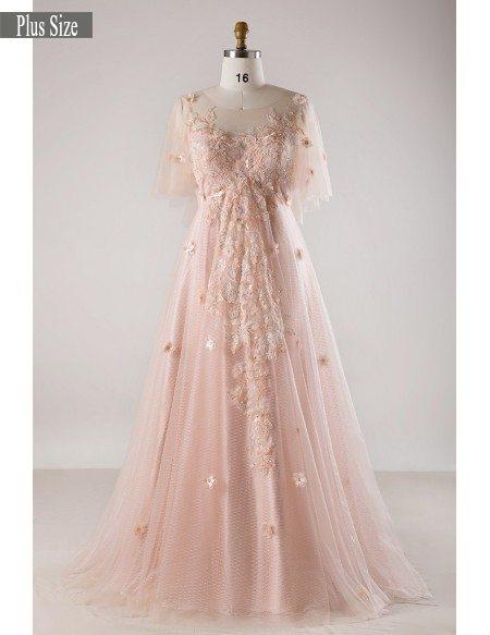 Plus Size Blush Pink Flowing Long Tulle Flowers Long Formal Dress