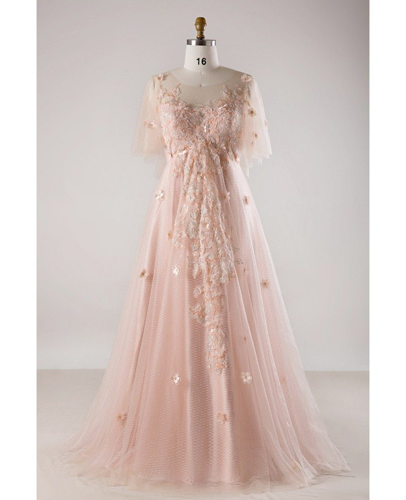 Plus Size Blush Pink Flowing Long Tulle Flowers Long Formal Dress #MN022 -  GemGrace.com
