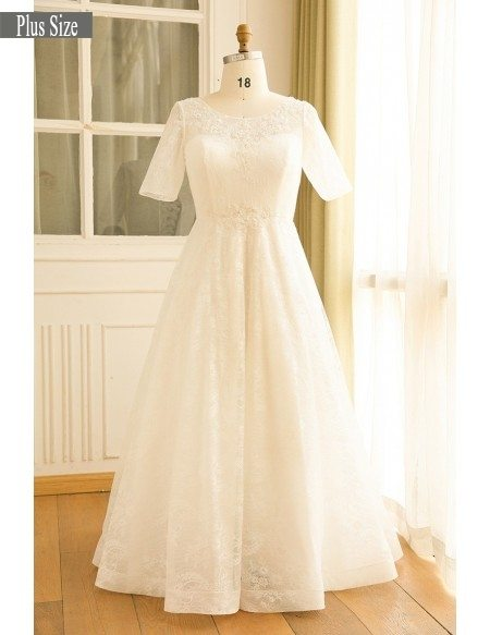 Modest Plus Size Ivory Lace Mature Women Wedding Dress With Short Sleeves