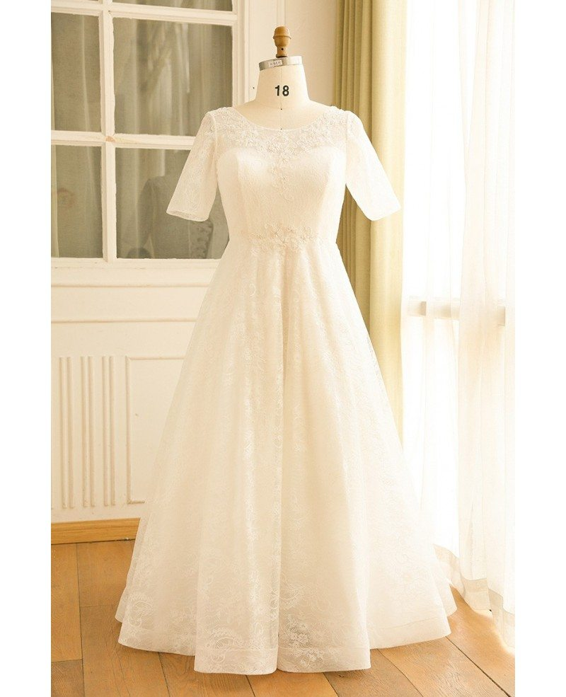 Modest Plus Size Ivory Lace Mature Women Wedding Dress With Short Sleeves  #MN024 - GemGrace.com