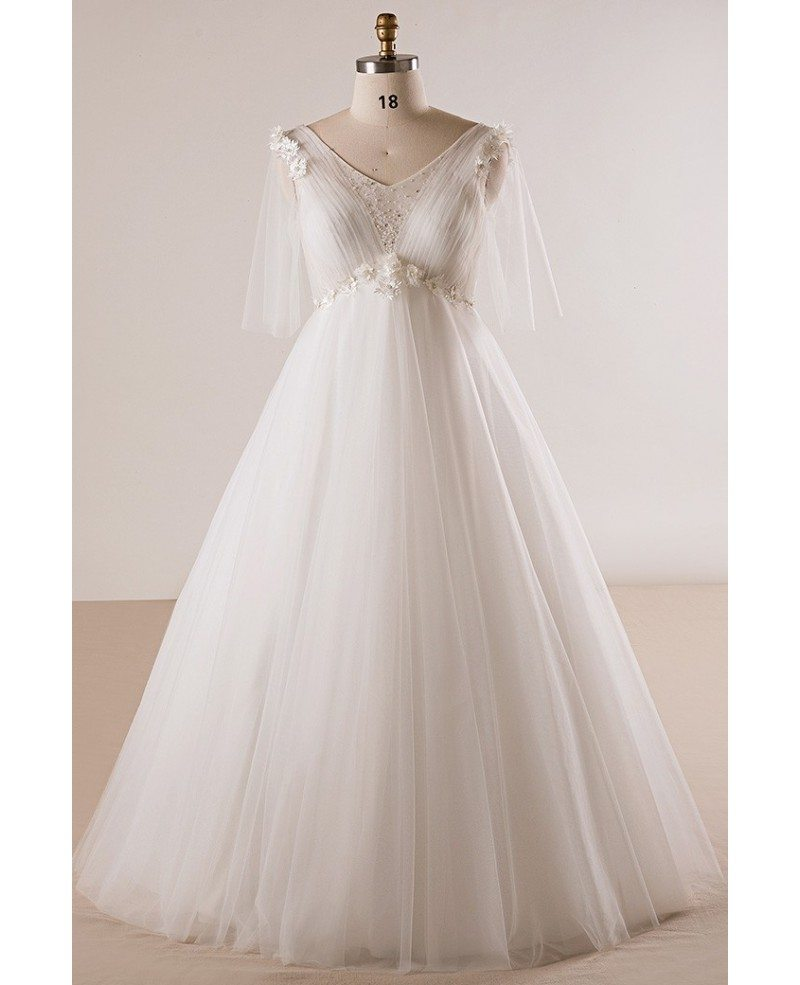 Plus Size Ivory Beaded Flowers Empire Waist Long Tulle Wedding Dress  Butterfly Sleeves #MN027 - GemGrace.com