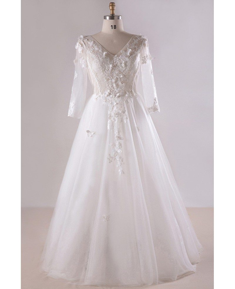 Gorgeous Plus Size White Butterflies Long Tulle Wedding Dress With 3/4  Sleeves #MN028 - GemGrace.com