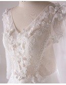 Gorgeous Plus Size White Butterflies Long Tulle Wedding Dress With 3/4 Sleeves