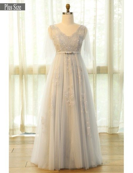 Beautiful Plus Size Grey Flowing Long Tulle Lace Formal Party Dress #MN031  - GemGrace.com