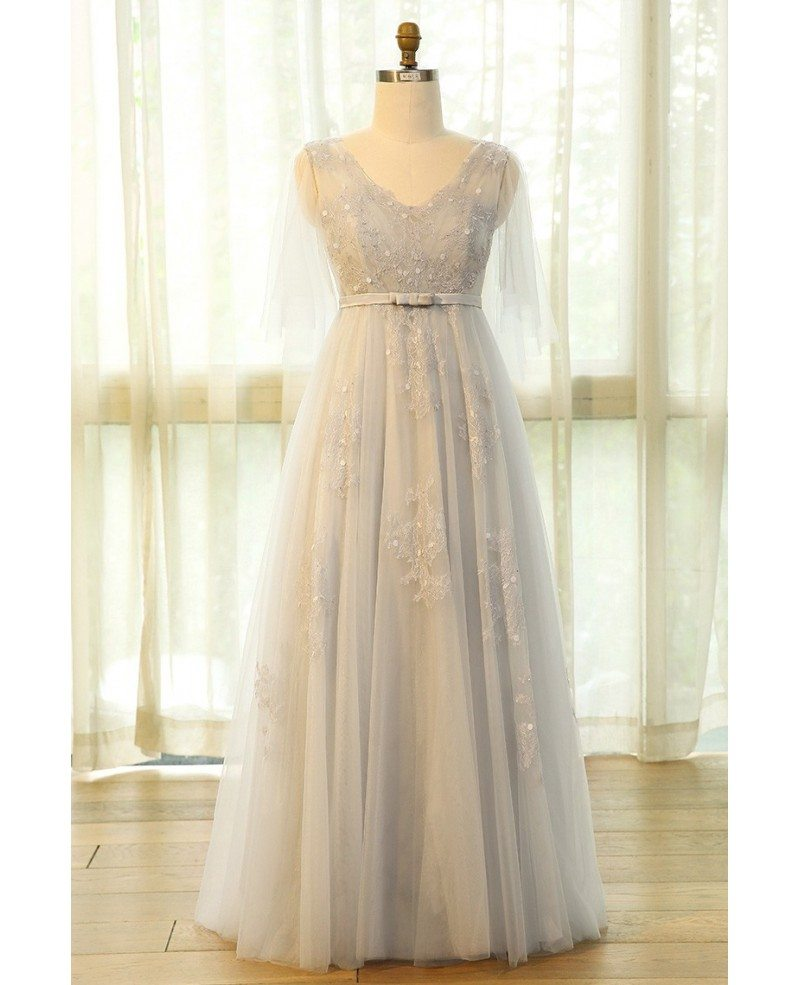 Beautiful Plus Size Grey Flowing Long Tulle Lace Formal Party Dress Mn031 Gemgrace