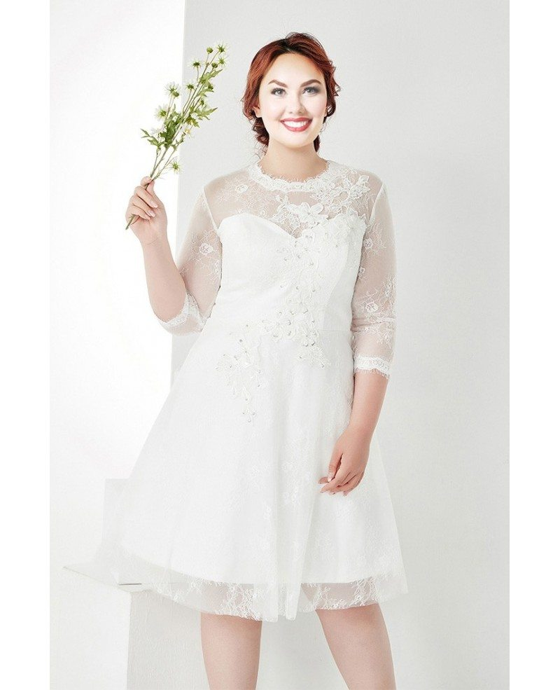 Modest Plus Size White Lace 3/4 Sleeves Short Wedding Dress #MN035 -  GemGrace.com