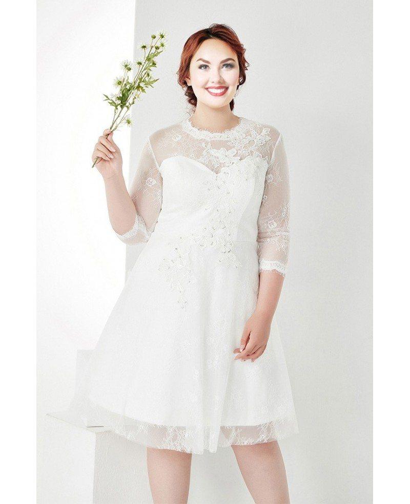 Modest Plus Size White Lace 3 4 Sleeves Short Wedding Dress Mn035 Gemgrace