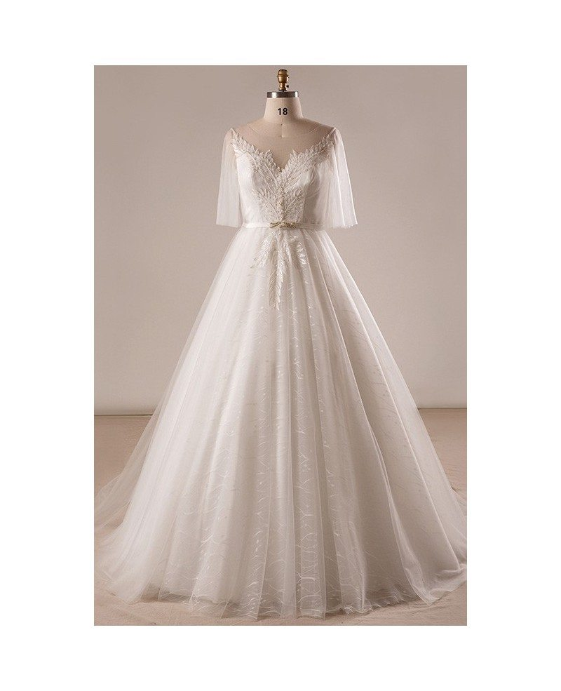 Gorgeous Plus Size Ivory Leaf Lace Wedding Dress With Flowing Sleeves  #MN038 - GemGrace.com