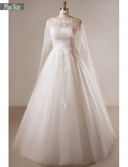 Plus Size Ivory A-line Lace Floor Length Strapless Wedding Dress With Shawl  #MN042 - GemGrace.com