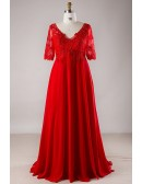 Plus Size Red Lace Empire Waist Long Chiffon Formal Dress With Lace Sleeves
