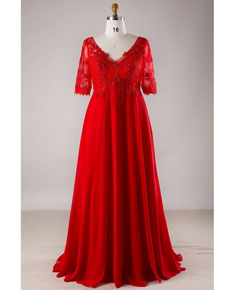 Plus Size Red Lace Empire Waist Long Chiffon Formal Dress With Lace Sleeves  #MN047 - GemGrace.com