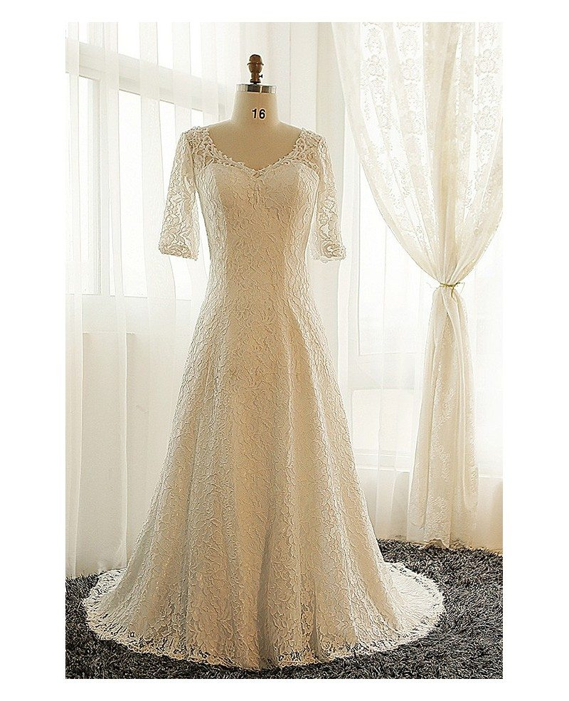 Best Plus Size Lace Wedding Dress With Sleeves Ivory Full Lace Modest Style  #MN050 - GemGrace.com