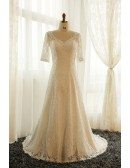 Best Plus Size Ivory Full Lace Modest Wedding Dress With Lace Sleeves