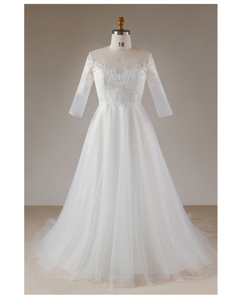 Beautiful Plus Size Lace Half Sleeve Wedding Dress For Women Mn055 Gemgrace
