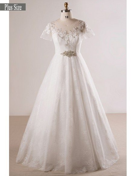 Plus Size Beaded Lace A-line Wedding Dress With Short Sleeves