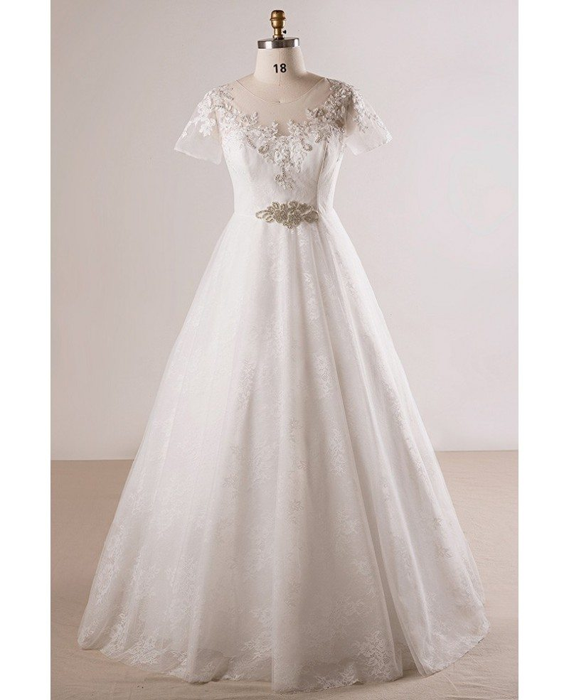 Plus Size Beaded Lace A-line Wedding Dress With Short Sleeves #MN056 -  GemGrace.com