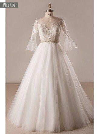 Retro Plus Size Trumpet Sleeve Lace A-line Wedding Dress