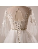Retro Plus Size Trumpet Sleeve Lace A-line Wedding Dress