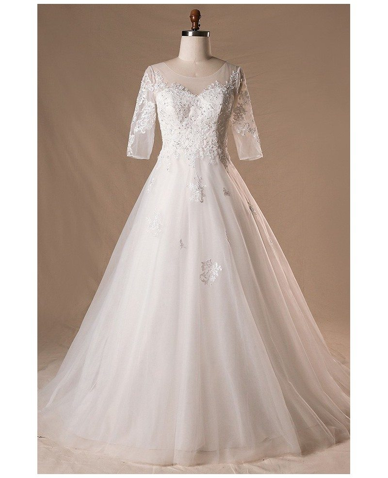 Plus Size Sheer Round Neck Lace Wedding Dress With Half Sleeves Mn062 Gemgrace Com