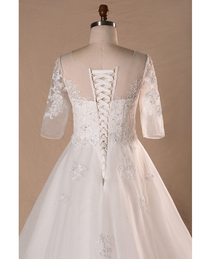 All Lace Wedding Dress: Plus Size Sheer Round Neck Lace Wedding Dress With Half