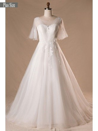 Plus Size Flowers Lace Country Outdoor Wedding Dress With Butterfly Sleeves