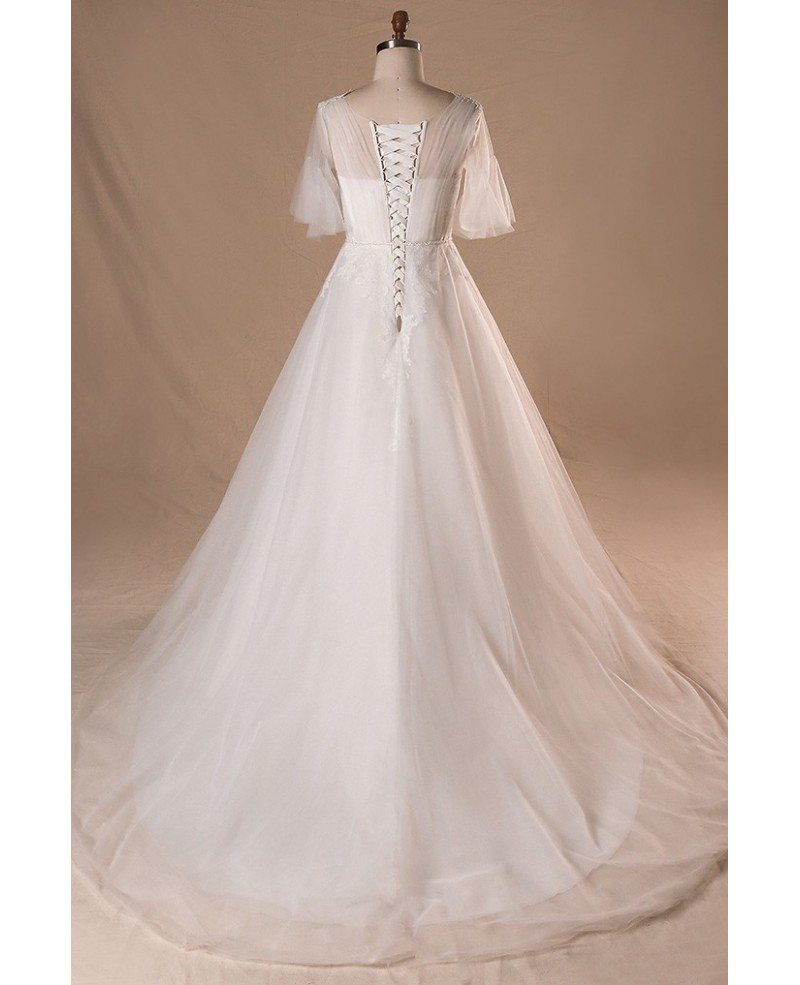 Plus Size Flowers Lace Country Outdoor Wedding Dress With Butterfly Sleeves  #MN064 - GemGrace.com