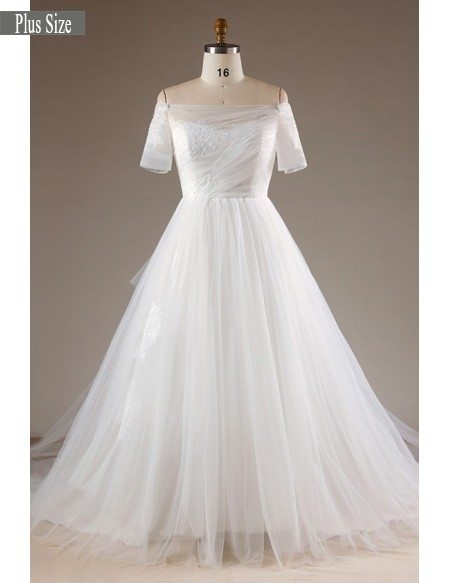 Simple Plus Size Off Shoulder Tulle Wedding Dress With Lace Back #MN065 -  GemGrace.com