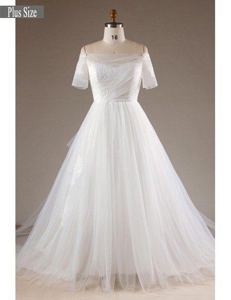 Off Shoulder Tulle Wedding Dress