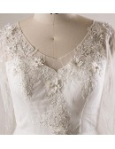 Plus Size Lace 3/4 Sleeves Floor Length Modest Wedding Dress