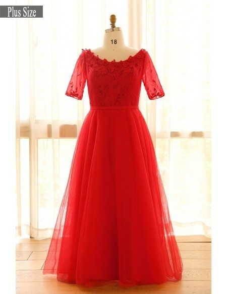 Plus Size Red Round Neck Floor Length Long Tulle Formal Party Dress