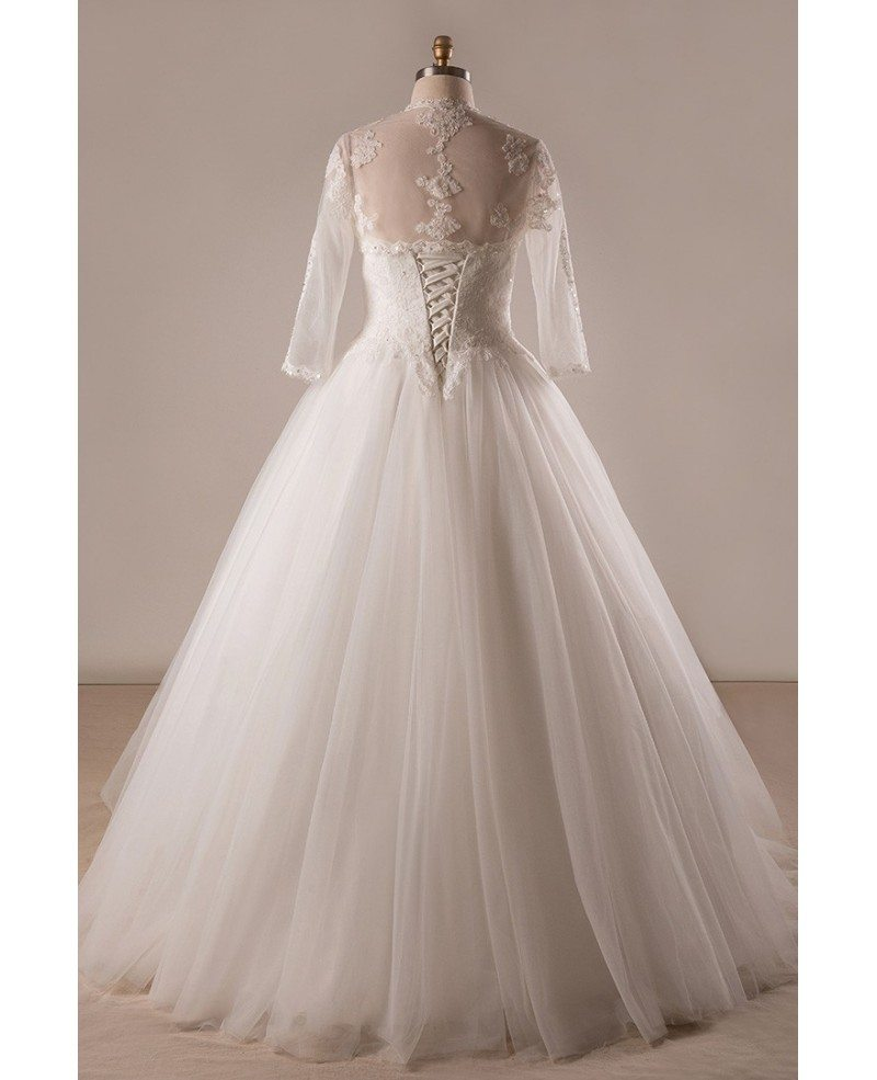 Plus Size Lace Tulle Ballgown Strapless Wedding Dress With Lace Jacket  #MN074 - GemGrace.com