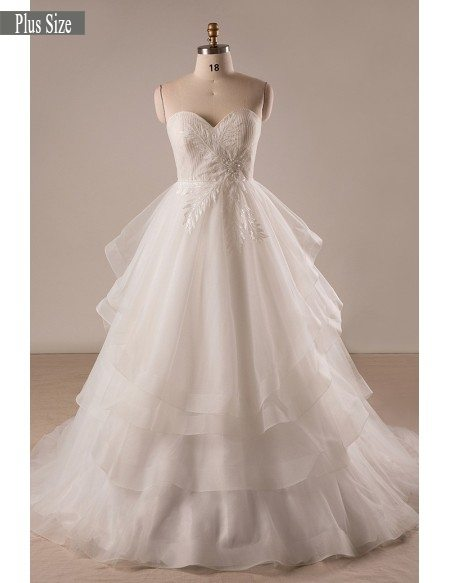 Custom Plus Size Ivory Sweetheart Layered Tulle Formal Wedding Dress
