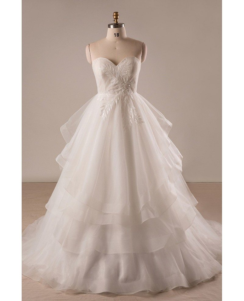 Custom Plus Size Ivory Sweetheart Layered Tulle Formal Wedding Dress #MN076  - GemGrace.com