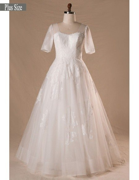 Modest Plus Size A-line Lace Tulle Wedding Dress With Corset Lace Back