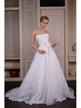 Ball-Gown Strapless Cathedral Train Lace Tulle Wedding Dress With Beading Flowers