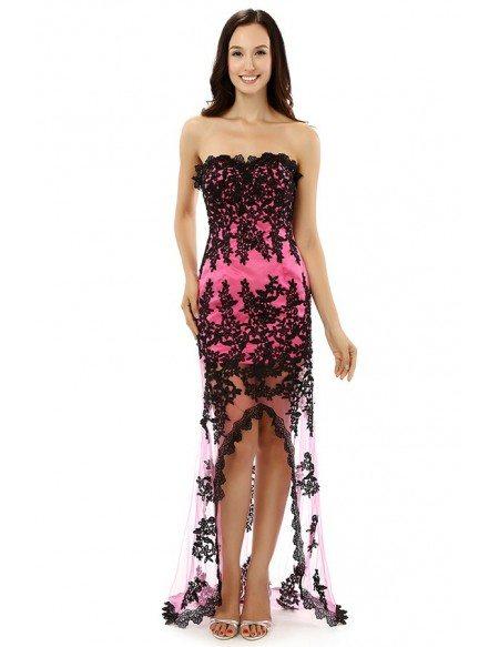 Sheath Sweetheart Strapless Floor-length Asymmetrical Prom Dress