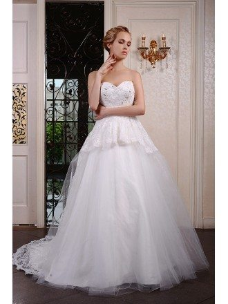 Ball-Gown Sweetheart Court Train Tulle Wedding Dress With Beading Appliquer Lace