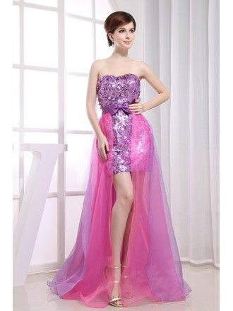 A-line Sweetheart Asymmetrical Tulle Sequined Prom Dress