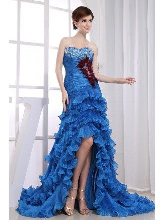 Mermaid Sweetheart Asymmetrical Tulle Prom Dress With Cascading Ruffle