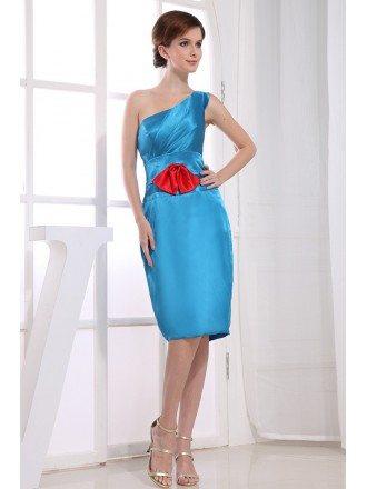 Sheath One-shoulder Knee-length Satin Dress