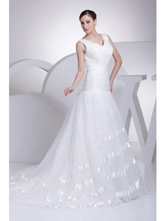Pleated Organza Long Mermaid Wedding Dress with Satin Trim