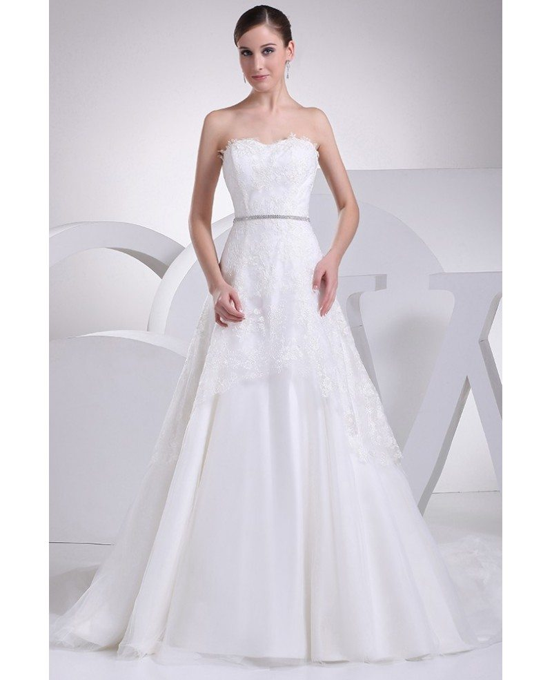 Aline Wedding Gown: Aline Lace Train Length Strapless Wedding Dress With