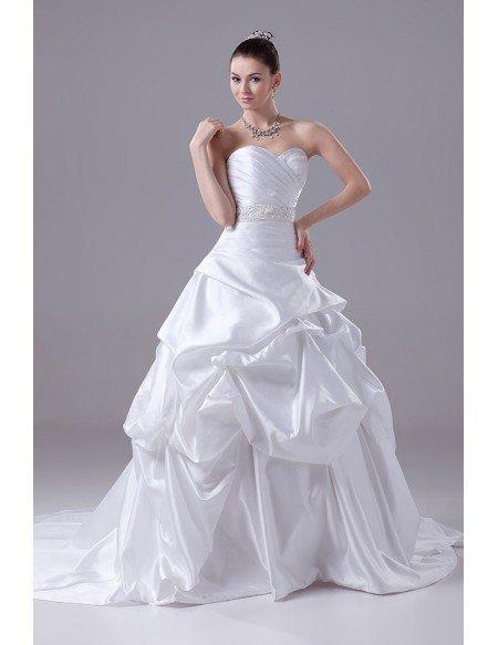 Sweetheart Beaded Waist Ballgown Ruffled Wedding Dress