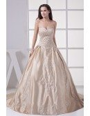 Classic Champagne Sweetheart Embroidered Ballgown Color Wedding Dress